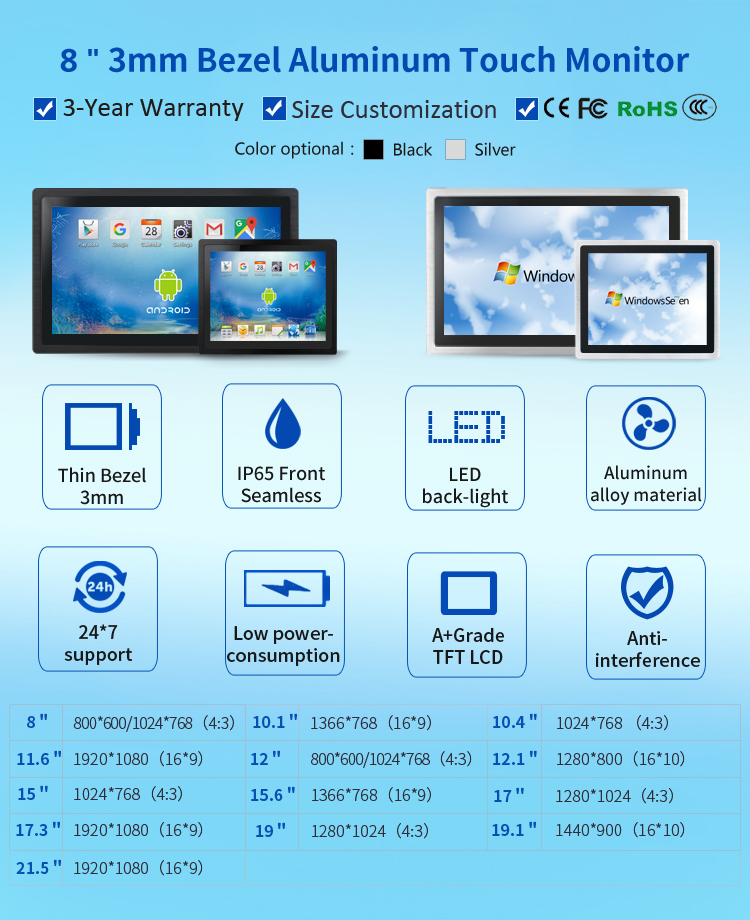 3mm Embedded industrial touch screen monitor for extreme environments