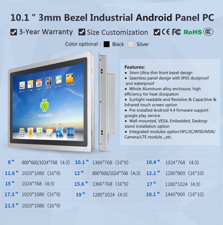 3mm Android Rugged Panel PC